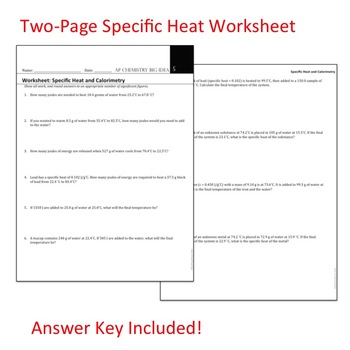Chemistry Big Idea 5 Worksheet: Specific Heat and Calorimetry