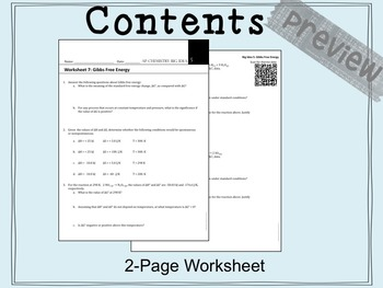 AP Chemistry Big Idea 5 Worksheet: Gibbs Free Energy (ΔG) by The ...