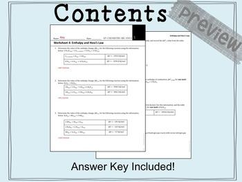 AP Chemistry Big Idea 5 Worksheet: Hess's Law (ΔH)