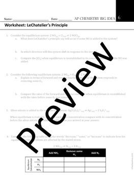 AP Chemistry Big Idea 6 Worksheet: LeChatelier's Principle