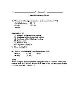AP Chemistry - Bonding Quiz