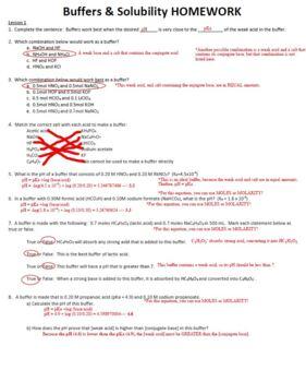 AP Chemistry Buffers & Solubility Homework Handout with ANSWER KEY