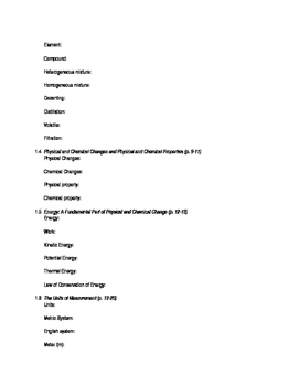AP Chemistry Chapter 1 Reading Guide for Tro, A Molecular Approach, 3rd edition