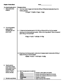 AP Chemistry, Chapter 4 Review Sheet for Tro, A Molecular Approach 3e