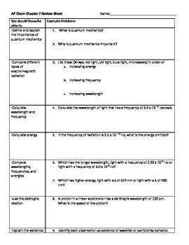 AP Chemistry, Chapter 7 Review Sheet for Tro, A Molecular