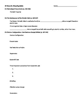 AP Chemistry, Chapter 8 Reading Guide for Tro, A Molecular Approach 3e