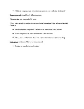 AP Chemistry Chapter Summary: Ch 2 - Elements, Compounds, & Chemical Reactions