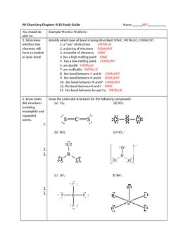AP Chemistry, Chapters 9-10 Review Sheet for Tro, A Molecular Approach 3e