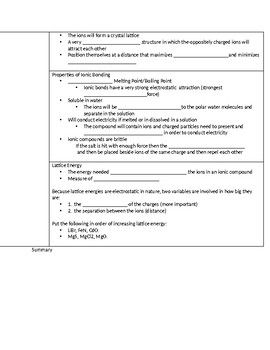 AP Chemistry Chemical Bonding Guided Note Companion (Big Idea 2)