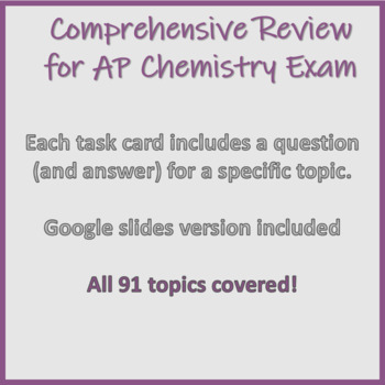 AP Chemistry Big Idea Review Task Cards by Learning Objective | TpT