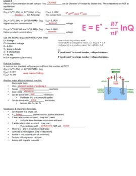 AP Chemistry Electrochemistry Guided Notes for Powerpoint (with ANSWERS)
