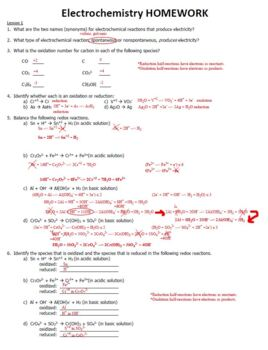 AP Chemistry Electrochemistry Homework Handout with ANSWER KEY