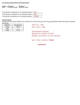 AP Chemistry Entropy & Free Energy Guided Notes for Powerpoint (with ANSWERS)