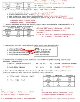 AP Chemistry Entropy & Free Energy Homework Handout with ANSWER KEY
