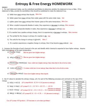 Chemistry energy worksheet