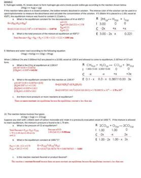 AP Chemistry Equilibrium Homework Handout with ANSWER KEY