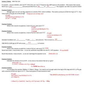 AP Chemistry Gas Laws Guided Notes to go with Powerpoint (includes ANSWER KEY)