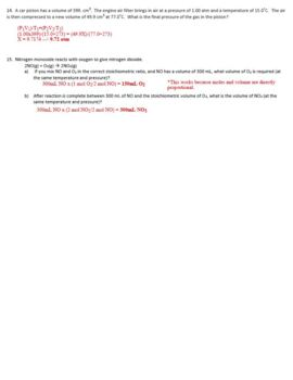 AP Chemistry Gas Laws Homework Handout with ANSWER KEY