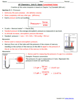 AP Chemistry Guided Notes: Gases