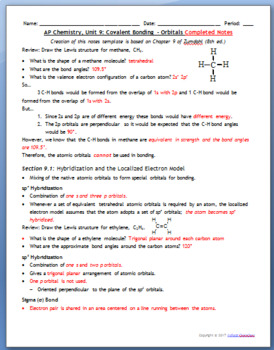 AP Chemistry Guided Notes: Hybridization and Molecular Orbital Theory