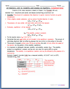 AP Chemistry Guided Notes: Solubility Equilibria, Complex Ions