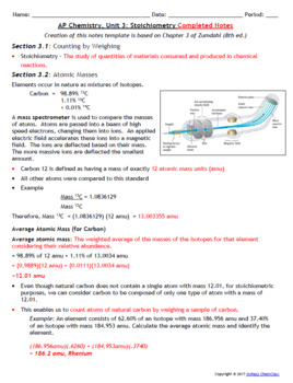 AP Chemistry Guided Notes: Stoichiometry
