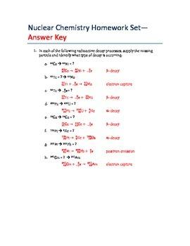 AP Chemistry-Half Life and Nuclear Chemistry Homework Set