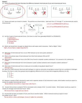 AP Chemistry Intermolecular Forces Homework Handout with ANSWER KEY