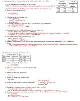 AP Chemistry Kinetics Homework Handout with ANSWER KEY