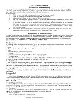 AP Chemistry Lab Instructions
