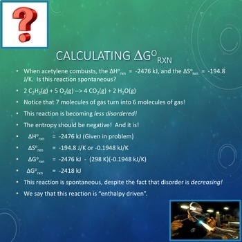 AP Chemistry Lesson Plan:  Thermodynamics, Entropy, and Gibbs Free Energy Part 1
