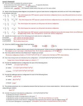 AP Chemistry Light & Periodicity Homework Handout with ANSWER KEY