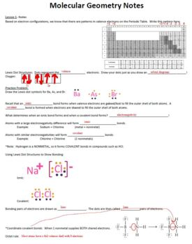 AP Chemistry Molecular Geometry Guided Notes for Powerpoint (includes ANSWERS)