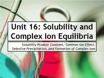 AP Chemistry Power Point: Solubility Equilibria and Complex Ions