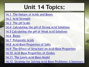 AP Chemistry Power Point and Guided Notes: Acids and Bases