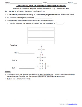 AP Chemistry Power Point and Guided Notes: Organic Chemistry