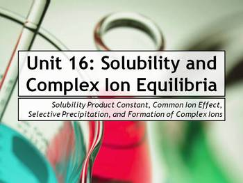 AP Chemistry Power Point and Guided Notes: Solubility Equilibria, Complex Ions