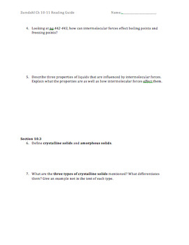 AP Chemistry Reading Guide Zumdahl Chapter 10-11 - Liquids, Solids & Solutions
