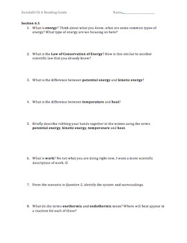 AP Chemistry Reading Guide Zumdahl Chapter 6 - Thermo Intro