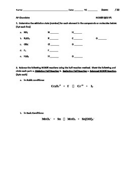 AP Chemistry Redox Quiz 1