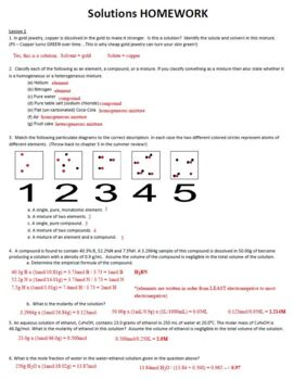 AP Chemistry Solutions Chemistry Homework Handout with ANSWER KEY