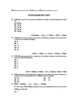 AP Chemistry - Stoichiometry Test