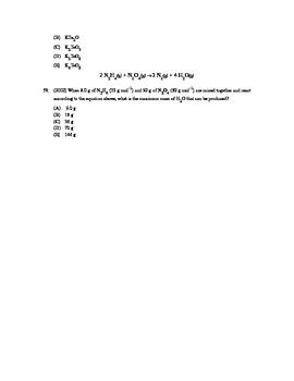 AP Chemistry - Stoichiometry Test