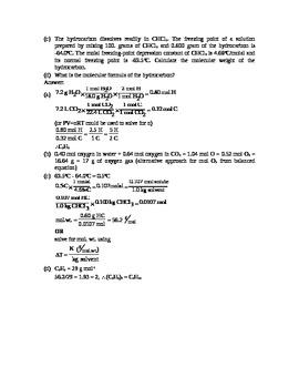 AP Chemistry - Stoichiometry Test - FRQ