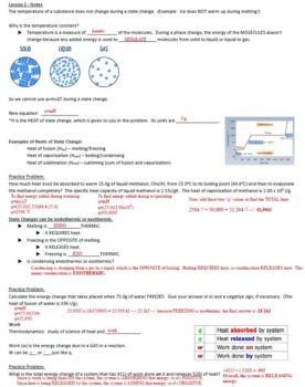 AP Chemistry Thermochemistry Guided Notes for Powerpoint (includes ANSWER KEY)