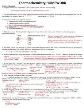 AP Chemistry Thermochemistry Homework Handout with ANSWER KEY