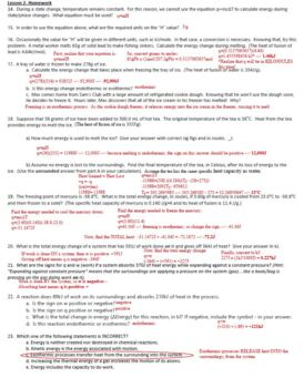 AP Chemistry Thermochemistry Homework Handout with ANSWER KEY