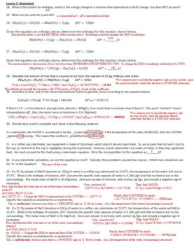 AP Chemistry Thermochemistry Homework Handout with ANSWER ...