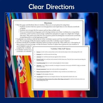 AP Comparative Government and Politics Vocabulary Squares Bundle