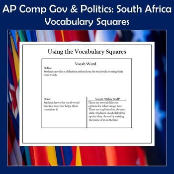 AP Comparative Government and Politics Vocabulary Squares-South Africa